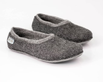 Grey felted wool slippers, Husband gift, Boiled wool slippers, Warm house shoes, Eco friendly wool felt Gift over 75 handmade