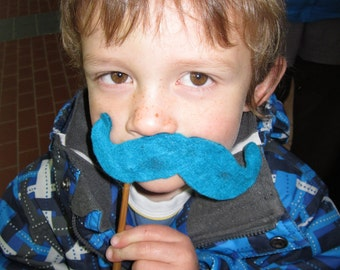 Upcycled Steampunk Felt Handlebar Mustache on a Stick (Turquoise Blue) Absolem Alice in Wonderland, Movember Movement