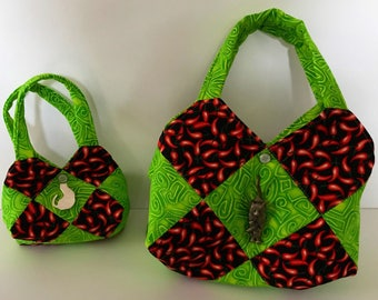 HOBO BAG- Chile Patchwork in Two Colors (Green or Orange) and Two Sizes (Medium or Mini)
