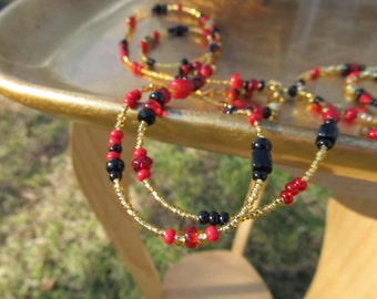 Majestic I Waistbeads - Red, Gold, and Black Waist Beads - Red Bamboo Coral and Black Jasper and Onyx