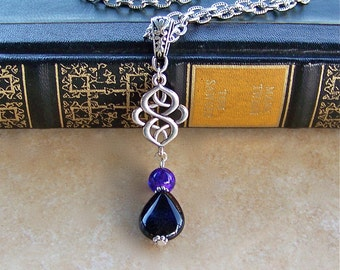 Silver Scroll Black Onyx Gemstone Teardrop Necklace Vampire Gothic Pendant