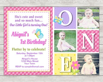 Butterfly 1st Birthday Invitation, Butterfly Birthday Invitation - Digital File (Printing Services Available)