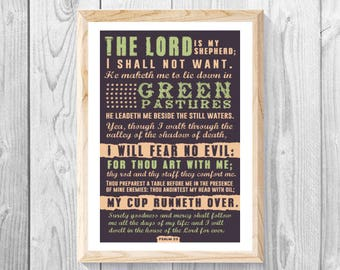 "The Lord Is My Sheperd, Psalm 23:1 - Lrg 11""x 17"" Print, Christian Wall Art Decor, Scriptures, faith, Religious Gift, Bible, Holy Spirit."