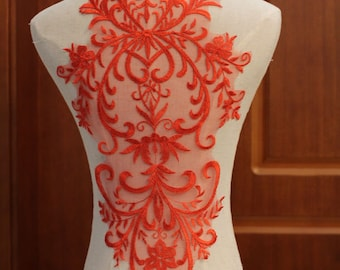 x 1 applique-guipure lace floral red sewing 61 x 28 cm @B28