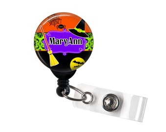 Personalized Halloween, Retractable ID Badge Reel, Halloween Deco