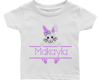 Personalized Custom Name Easter Bunny Rabbit Purple Girl Infant Tee Shirt. Easter outfit. First Easter. 1st Easter Outfit. Baby's 1st Easter