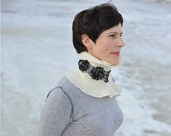 Summer Sale Handmade shawl black and white-  felted from softest merino wool