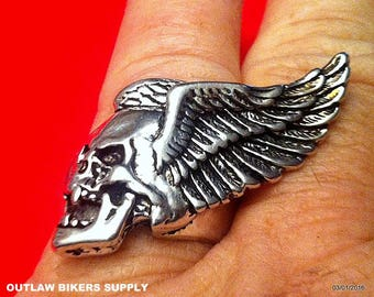 Hells Winged Death-head ring