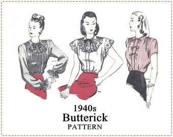 1940s Blouse Pattern - 1940s Sewing Pattern - Butterick 3694 - Misses Blouse, Cap Sleeve, Eyelet Lace, Bow, Jabot, Cuff - Size 16 Bust 34