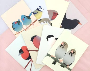 Set of 8 Bird Cards | Bird Card | Bird Greetings Card | Bird Birthday Card | Anniversary Card | Bird Art | Bird Print | Greetings Card Set