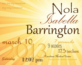 Sunshine baby girl birth announcement wall art/wall hanging