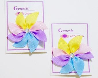 Girls Flower Hair Bow Set Fashion Small Hair Clip Flower Hairbows (Set of 2)