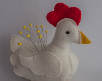 Hen pincushion or softie, and Chick Softie pattern for little hands