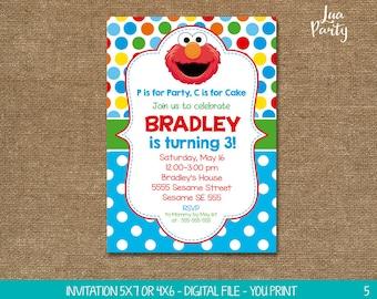 Elmo invitation print yourself, Elmo birthday invitation, Sesame street birthday invitation