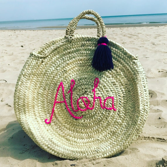 Round circular personalised custom bespoke made to order wool embroidered name monogram Moroccan French market shopping beach basket tassel