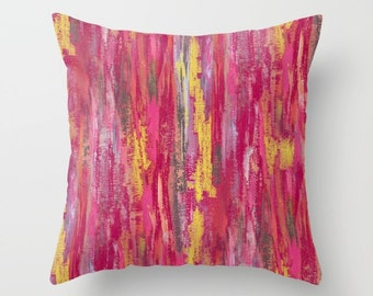 Abstract Pillow Cover Pink Grey Yellow Fuschia  Modern Home Decor Living room bedroom accessories Cushion Decorative Pillow Cover
