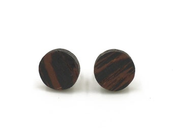 Wenge Circle Studs, Wood Studs, Wooden Studs, Geometric Studs, Eco Friendly Studs, Wood Circle Studs, Wood Stud Earrings, studs for guys
