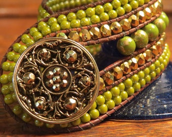 Bright spring green five row beaded bracelet, warm gold czech crystals, beautiful gold button, light brown leather!