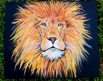 Original Glowing Gold Lion Metallic Acrylic Painting