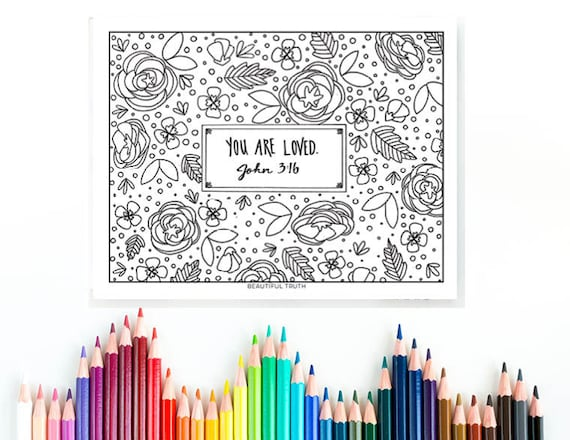 You Are Loved Coloring Page John 3 16 Printable Instant