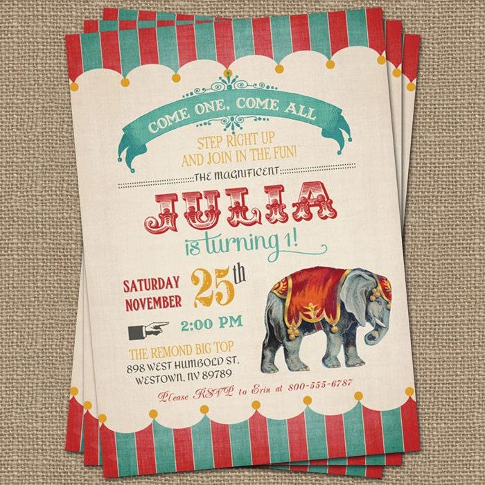 Vintage Circus Birthday Invitation Circus Party Digital