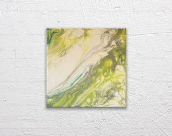 Grass Ripple  8x8 Acrylic and silver mica on Canvas - Abstract Modern Marbled Painting in teal and silver