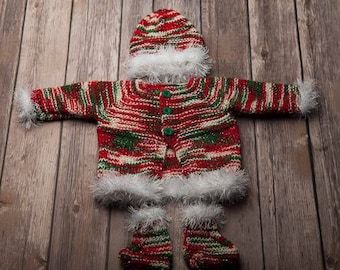 Newborn Christmas set- cardigan , hat and booties