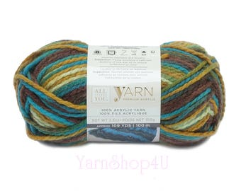 TOADSTOOL Ombre All Things You Premium Acrylic Bulky Yarn. Earthy Brown, Green, Blue. Soft. Variegated. Same as Charisma Toadstool Yarn <