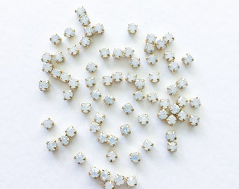 50 x 4mm Opal Sew On Rhinestone in Gold White Opal Montees White Opal Chatons