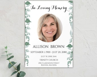 Funeral Program Template, Printable Funeral Program Template, Memorial Program Template, Funeral Card Template, Obituary Template, 0090