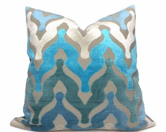 """Designer Ogee Wave Turquoise Blue Cream Beige Cut Velvet Pillow Cover,  Fits 12x18 12x24 14x20 16x26 16"""" 18"""" 20"""" 22"""" 24"""" Cushion Inserts"""