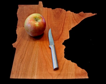 Personalized Cutting Board, Minnesota Shaped Cutting Board, Anniversary Gift, Kitchen Gift, Foodie Gift, Cutting Board Customized