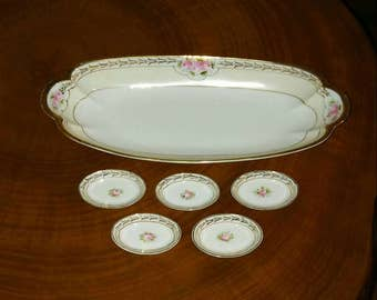 Vintage Hand Painted Nippon Celery Serving Dish with Salt Plates, Sushi Serving and Wasabi Dishes