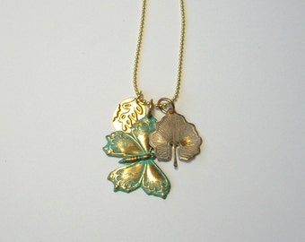 Golden Butterfly Charm Necklace, leaf, blue, gold, fairy, woodland, sprite,  embossed
