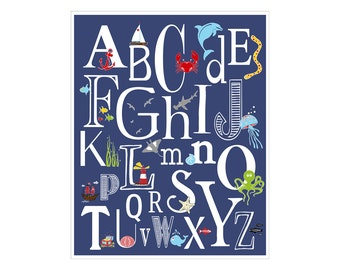 Children's Wall Art / Nursery Decor Nautical Alphabet Poster - ABC alphabet typography  Poster Print