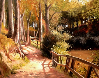 Reproduction Oil Painting Canvas - Woodland Pathway - Forest Landscape - Sunny Autumn - Made To Order Extra Large Size