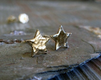 Small star stud earrings. Sterling silver, 14k gold filled or solid 14k yellow gold. Superstar posts. Minimalist. Textured or smooth finish.