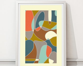 Mid Century Modern print, Abstract art, Minimalist art, Printable art, Geometric art, Scandinavian art, Modernist art, VIntage style art