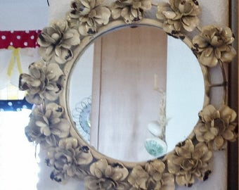 Vintage round mirror metal flowers wall decor.