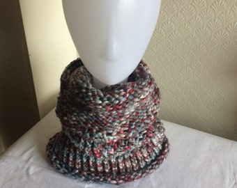 Hand Knitted Grey Cowl Scarf / Snood