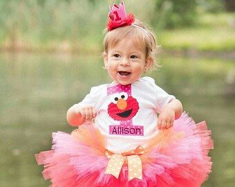 Elmo Sesame Street Birthday Party Tutu Outfit Dress Set Handmade 1st 2nd 3rd in Red Pink and Orange