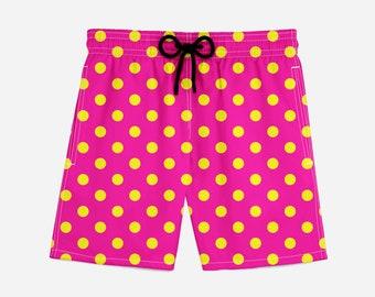 Yellow Polka Dots  in Hot Pink Summer Shorts (Premium All Over Graphics Print , Hand Made Beach Shorts)