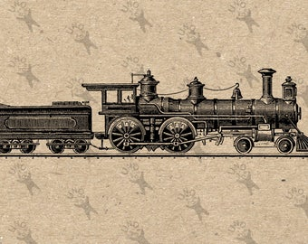 Vintage image Train Locomotive Steam Instant Download Retro drawing Digital printable Black and White graphic burlap totes towels etc