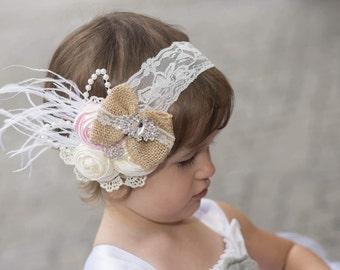 Baby Headband, Burlap Bow Headband, Lace Headband, Wedding Headband, Shabby Chic Headband, Flower Girl Headband, Vintage Inspired Headband