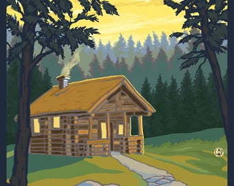 Coeur D'Alene, Idaho - Cabin in Woods - Lantern Press Artwork (Art Print - Multiple Sizes Available)