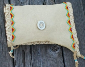 Beaded leather clutch , Handmade leather clutch ,  Leather clutch purse , Soft leather phone case