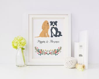 Dog Portrait - Personalised Dog Print for up to 4 dogs - personalized pet portrait - personalized dog art print - ideal gift for dog lovers