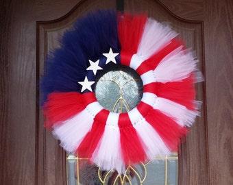Patriotic American Flag Tulle Wreath