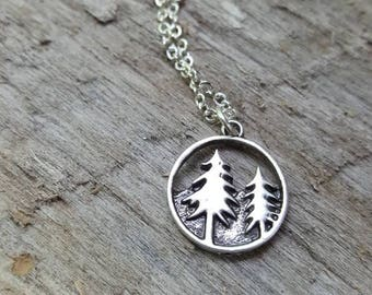 I'd Rather Be Outside- Silver Pine Evergreen Tree Necklace