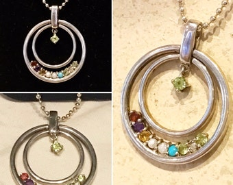 """Vintage Lenox Sterling Silver Double Circle Birthstone Pendant & 18"""" inch ball bead 925 necklace set   Retired Lenox 925 pendant necklace"""